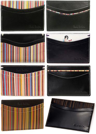 Paul 史密斯 Paul 史密斯男士卡持有人多色的条纹老式管道多颜色黑色的封面女郎皮革名片夹,卡案例男士两折名片盒 ACXA 1772
