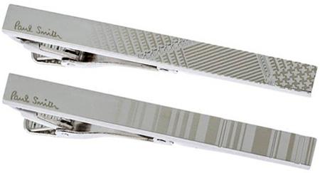 Paul Smith ポールスミスネクタイピン シルバーストライプ グレインチェック光の加減で浮かび出す繊細なパターンを表現どんなスタイリングにもマッチするシンプルデザインプレゼントギフトに最適スーツスタイル ジャケットアクセサリー