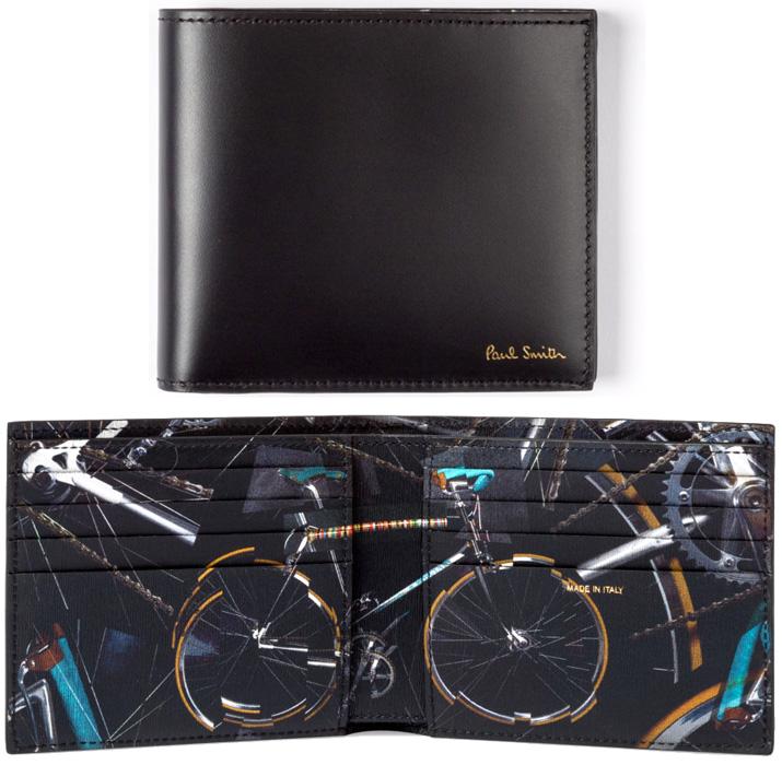 Paul Smith ポールスミスメンズ二つ折り財布箔押しロゴ 自転車ブラック2つ折り財布小銭入れ付きタイプも有マルチカラーバイシクルポールのお気に入りロードバイクグラフィックプリントBILLFOLD WALLET AUPC79BKBIKE PRINT INTERIOR