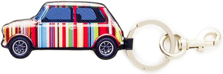 Paul Smith ポールスミスフックキーホルダーマルチカラーミニクーパーロゴ刻印キーリングマルチカラーストライプジオメトリックミニシルバー レディース メンズ 男女兼用MULTI STRIPE MINI PRINT KEY RING