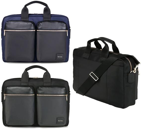 Paul Smith ポールスミスソフトレザーWフロントポケット2WAYブリーフケースビジネスバッグショルダーバッグナイロンカラーブロックネイビー ブラック かばん カバン 鞄ダブルフロントポケットBRIEFCASE BUISINESS SHOULDER BAG