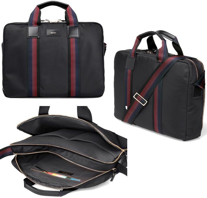 Paul Smith ポールスミスダブルファスナー2WAYブリーフケースビジネスバッグ ブラックライトウェイトナイロンウェビングラインアーティストストライプライニングインナージップポケットWファスナーショルダーバッグレザーロゴタグ カバン 鞄