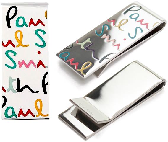 Paul Smith ポールスミスロゴ刻印 シルバー マネークリップマルチカラーポップロゴアクセサリー 財布 札挟みメンズ レディースお札を簡単に挟むお財布を持ち歩くのは好まないといった方に