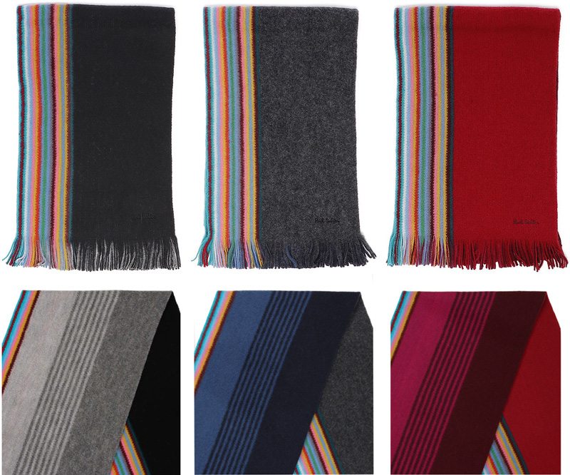 Paul Smith ポールスミス刺繍ロゴ マルチカラーウールマフラーレッド ブラック グレー巻き方次第で表情が変わるストライプラッセルリバーシブルマフラースカーフストールレディース メンズ 男女兼用