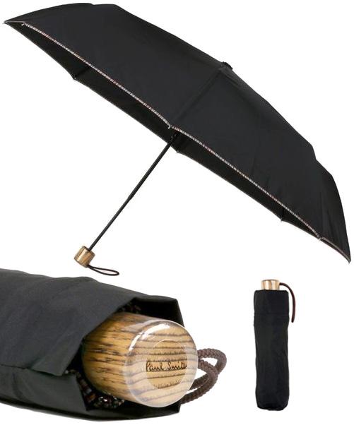 Paul Smith ポールスミス折り畳み傘 ブラック×マルチカラーエッジロゴ刻印 フォールディングアンブレラ雨の日もおしゃれを忘れずにトリミングマルチストライプアクセサリー かさ カサメンズ レディース 男女兼用MULTISTRIPE MULTITRIMUMBRELLA