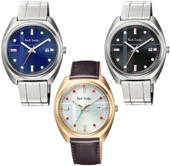 Paul Smith ポールスミス 腕時計メンズアナログウォッチ光を動力とするソーラー仕様ネイビー ブラック シルバーメタルバンドゴールド×ブラウンレザーバンドウィンドウぺーンチェックパターンカレンダー表示 ラウンドファイス