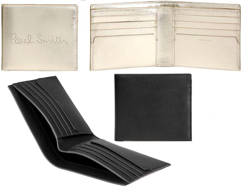 Paul Smith ポールスミスメンズ二つ折り財布 カードケースシルバー ブラック カーフスキンソフトレザーパンチングロゴ 2つ折り財布ベージュ オレンジ エメラルドグリーン パープルパーフォレイトロゴ札入れ 小銭れなし