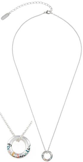 Paul Smith ポールスミスマルチカラーロゴ刻印リングトップネックレスシルバーペンダントチェーンネックレスカラフルアーティストストライプカラーアクセサリー ユニセックスメンズ レディース 男女兼用RINGPENDANT NECKLACE