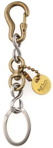 Paul Smith ポールスミスキーチャームキーリングブロンズアンティークゴールドカラビナフック×オーバルリングキーモチーフ&キーリング鍵 真鍮キーホルダー コレクションクレストロゴコインプレート 紋章 KEY CHARM RING COLLECTION