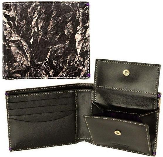 Paul Smith ポールスミスメンズ小銭入れ付き二つ折り財布クシャクシャにした紙クラッシュペーパープリントアウトサイドグラフィックエンボスロゴブラック×グレー2 つ折り財布