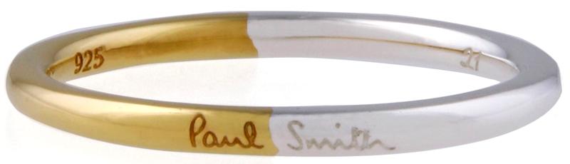 Paul Smith ポールスミスツートンカラーロゴ刻印メンズ ゴールド×シルバーバイカラーリング ロゴ刻印リング 指輪 約17号 約21号SIMPLELINE SILVER RING
