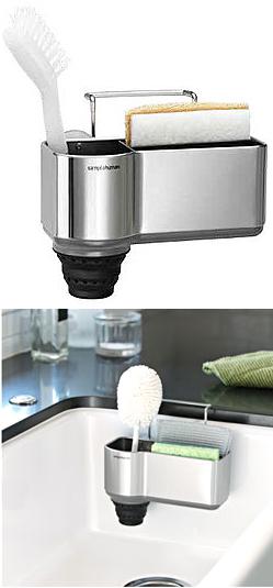 シンクスポンジ入れシンプルヒューマンシンクタンクに吸盤でくっ付けたりハングワイヤーで掛ける洗剤やスポンジやブラシを置く水切り底ポケットシンクキャディ simplehuman