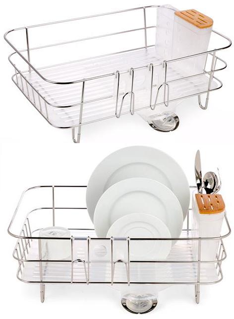 水切りトレーもついてこの活かしたデザイン半透明ホワイト×シルバー皿を並べて、フォークを立てた時の見栄えもいいミニディッシュラック 包丁&箸スプーン立てシンプルヒューマン カラトリー付きキッチンラックステンレススパウト付き水切りかご