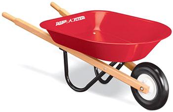 公園の砂場遊びに必須!子供用一輪車 おもちゃホイールバロー 手押し車バロウレッド×ナチュラルSpeciality Collection スペシャルモデルClassic Walker 木枠の付いたおもちゃ箱の手押し車です。Unicycle Kid's Wheelbarrow