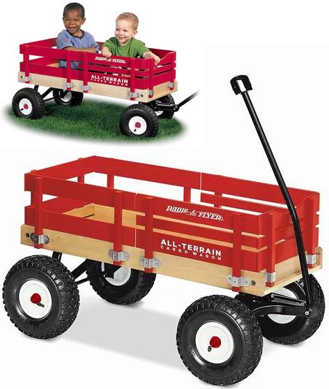 RADIO FLYER ラジオフライヤーAll-Terrain Wagons オールテレーンワゴンAll-Terrain Cargo Wagon #29赤の枠がインパクトあるデザインボディがオールウッド、全長1mを超えるエアタイヤモデル