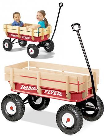 RADIO FLYER ラジオフライヤーAll-Terrain Wagons オールテレーンワゴンAll-Terrain Steel & Wood Wagon #32木製枠 荷物を積んで楽々移動トラベラーワゴンより少し大きめのエアタイヤを履いたモデル