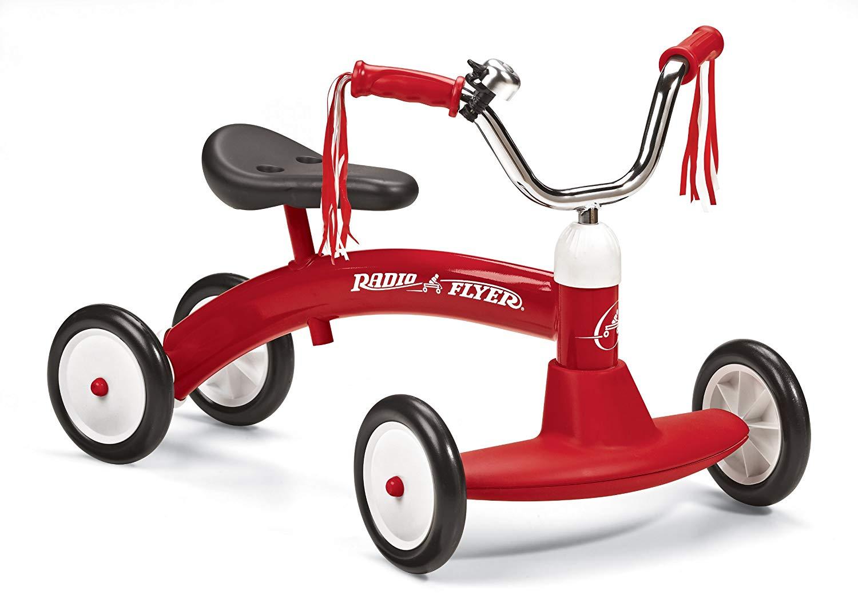 RADIO FLYER ラジオフライヤーRide Ons 乗用玩具Scoot-About #20四輪キックカー レッド安定間のある足蹴りおもちゃ ライドオン