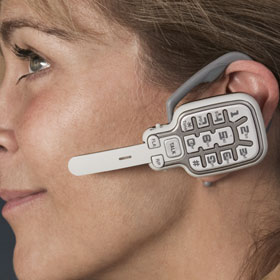 日本未発売 超小型コードレス電話機です!方耳にハンドセット装着すれば両手がフリーに!電話をしながらでも他の作業が楽々できちゃう。スティックコードレス電話機[2.4GHz Cordless Headset]