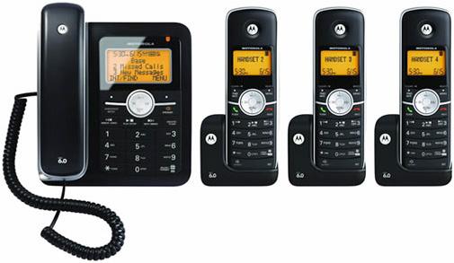 Motorola モトローラデジタルコードレスフォン盗聴がされ難くクリアな音声通話が可能なDECT6.0採用センタービッグシルバー オレンジビッグLCDディスプレイデジタル留守電話機能付き電話機コードレス子機増設可能 ブラックCordless + Corded Phones
