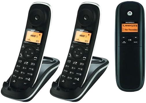 Motorolaモトローラーデジタルコードレスフォン盗聴がされ難く、クリアな音声通話が可能なDECT6.0採用デジタル留守電話機能付き電話機親機兼用コードレス子機 ブラック子機増設可能Cordless Telephone