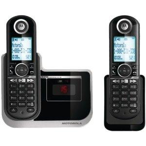 Motorola ブルーLCDディスプレイモトローラーデジタルコードレスフォン盗聴がされ難く、クリアな音声通話が可能なDECT6.0採用デジタル留守電話機能付き電話機親機兼用コードレス子機 ブラック子機増設可能