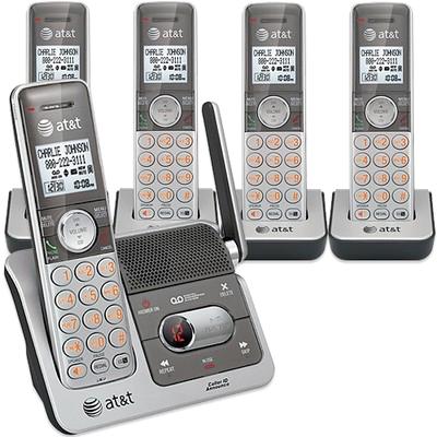 AT&T デジタルコードレスフォン盗聴がされ難く、クリアな音声通話が可能なDECT6.0方式採用デジタル留守電話機能付き電話機親機もコードレス シルバー×ブラックオレンジディスプレイ子機子機増設可能CL82501 CL82401 Cordless Telephone