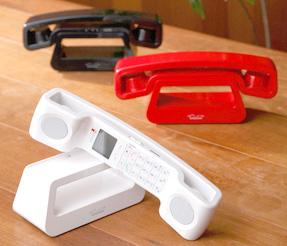 オープンアイコンコードレス電話機昔ながらのダイヤル式ベル電話をモチーフとしてデザインを現代的に復刻ホワイト ブラック レッド コードレスフォンスタイリッシュでありながら、少し丸みをおびデザインでどんな場所でも溶け込む