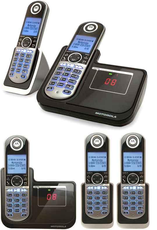ブルーLCDディスプレイ モトローラーデジタルコードレスフォン 盗聴がされ難く、クリアな音声通話が可能なDECT6.0採用 デジタル留守電話機能付き電話機 親機兼用コードレス子機 ブラック P1001用 P1002用 P1003用 P1004 増設用子機