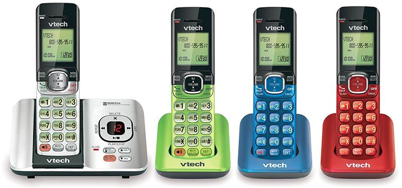 今までにないこのデザインメタリックシャンパンカラー 留守番電話機能付きコードレス電話機シルバー グリーン ブルー レッド盗聴され難く安定したデジタル高音質Dect 6.0通信方式仕様VTech 4Handset Answering System with Caller ID/Call Waiting