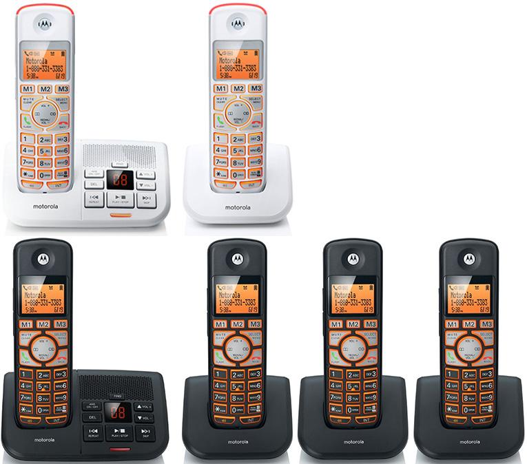 MOTOROLA モトローラデジタルコードレスフォンクリアな音声DECT6.0方式留守電話機能付き電話機ブラック ホワイト ビッグオレンジディスプレイ清潔感のある白色も登場老眼の方にもお薦めビッグボタン耳が遠い方に便利な大音量ボリューム機能