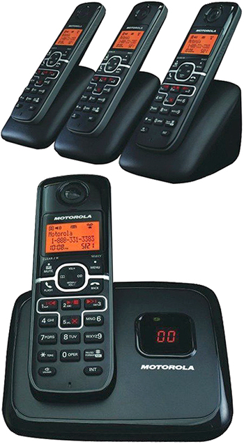 Motorola ブラックモトローラー デジタルコードレスフォン盗聴がされ難くクリアな音声通話が可能なDECT6.0採用デジタル留守番電話機能付き電話機子機増設可能親機もワイヤレスフォンLCDディスプレイ