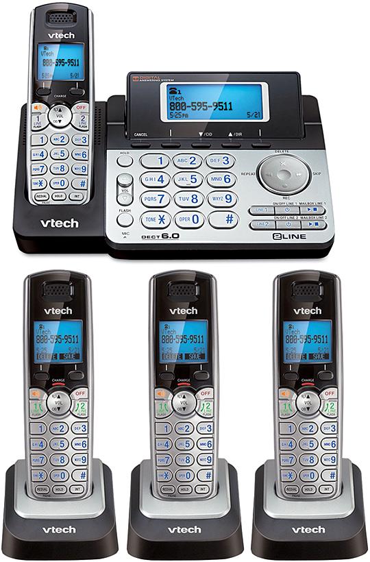これ1台で2回線(電話番号)を利用可能デュアルデジタルコードレスフォン盗聴がされ難くクリアな音声通話が可能なDECT6.0方式採用複数回線 留守電話機能付き電話機シルバー×ブラック×ブルーワイヤレス子機 12台まで増設可能