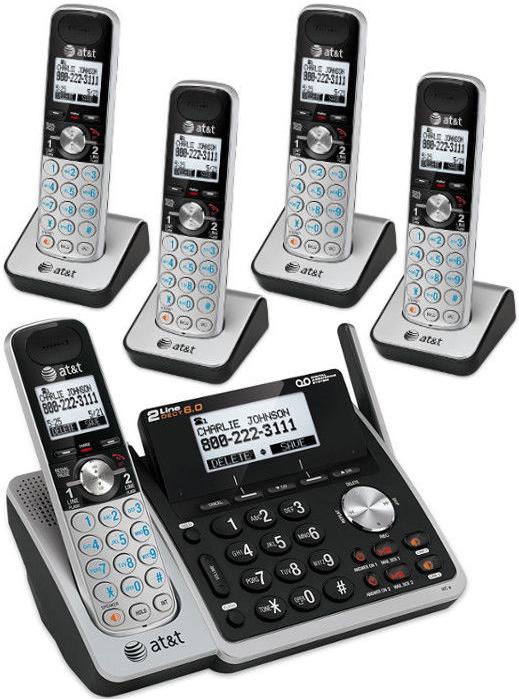 1台で2回線を利用可能デジタルコードレスフォンユニークアンテナ 盗聴がされ難く、クリアな音声通話が可能なDECT6.0方式採用デジタル留守電話機能付き電話機複数回線コード付き親機ブラック×シルバー ワイヤレス子機12台まで子機増設可能