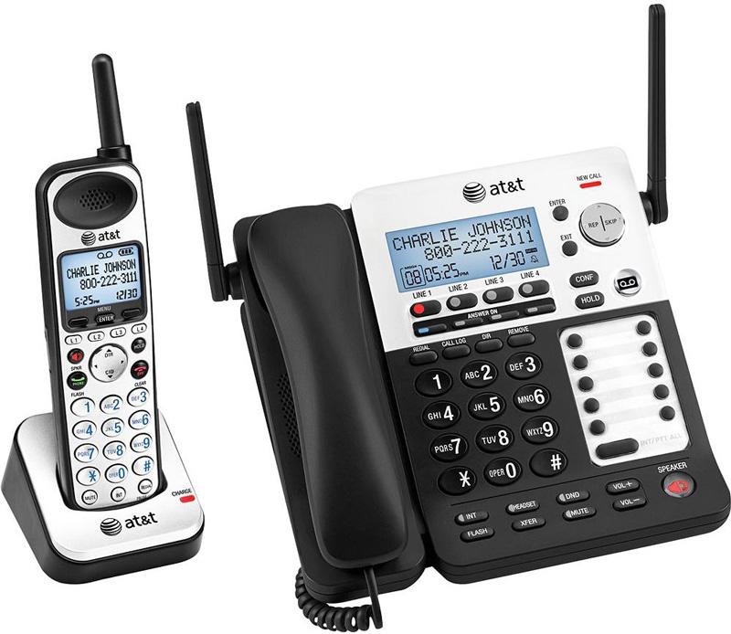 4番号の複数回線をこれ1台で留守電話機能付きコードレス電話機盗聴され難くクリアな音声通話可能なDECT6.0方式採用コードレス子機付きデジタルビジネスフォンコード付き親機 ブラック×シルバー10台まで子機増設可能AT&T Cordless Telephone