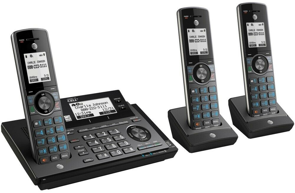 AT&T LCDディスプレイデジタルコードレスフォン盗聴がされ難くクリアな音声通話が可能なDECT6.0方式採用デジタル留守電話機能付き電話機4ハンドセット ガンメタブラック12台増設用子機 ストレートライン50件メモリー 留守録最大22分