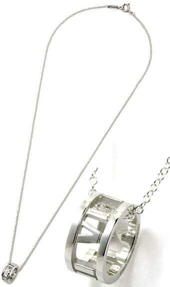 Tiffany&Co. ティファニーアトラス トップリングペンダントオープンペンダントネックレスローマ数字 シルバーチェーンスターリング シルバーATLAS PENDANT NECKLACEスモールアクセサリー