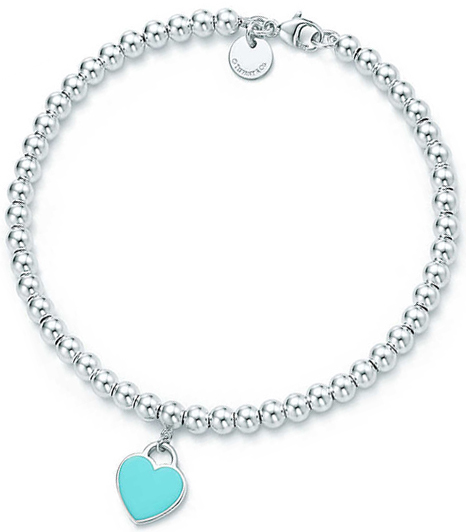 249a48695 Tiffany&Co. Tiffany return toe Tiffany tag beads bracelet emerald blue  pink heart plate ...