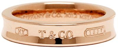 Tiffany&Co. ティファニーローズゴールド ナローリング指本のアクセサリー 指輪ルベドメタル 1837 創業年刻印T&CO THIN Rubedo