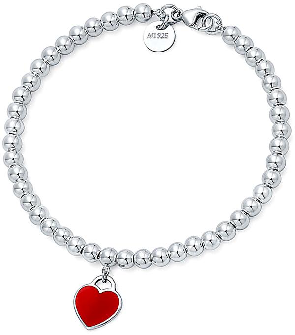 97749825f9e5 Tiffany return toe Tiffany beads bracelet red heart plate sterling silver  RTT HEART BRACELET AG925 RETURN TO TIFFANYD enamel finish accessories
