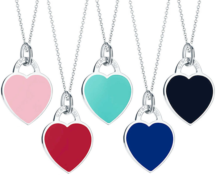 3b33abb6bcf61 Tiffany&Co. Tiffany return toe Tiffany heart tag plate navy light blue red  pink black T&CO 925 silver RTT Small pendant necklace silver chain sterling  ...