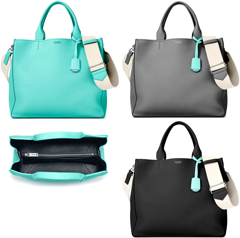 Tiffany Co With Covered Bag Charm The Tote Brief Case Shoulder Lady S Black Blue Gray Women Grain Calfskin Italian