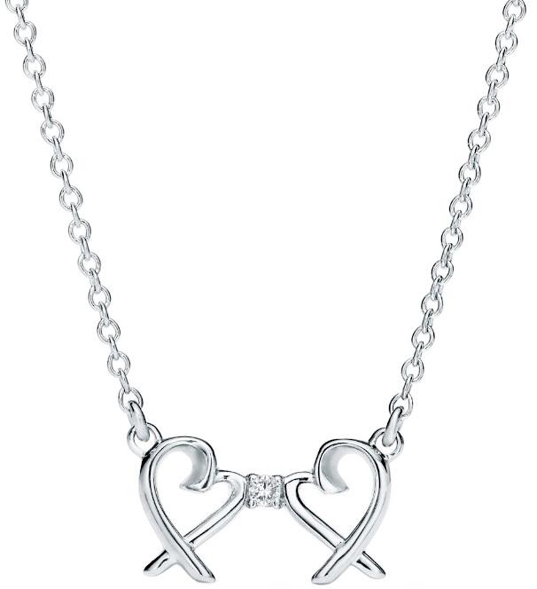 Tiffany&Co. ティファニー2つのオープンハートがダイヤモンドで繋がったデザインラウンドブリリアントカットダイヤモンドダブルラヴィングハートペンダントシルバーチェーン ダブルラビングハートスターリング シルバー 0.01カラットダイヤモンド