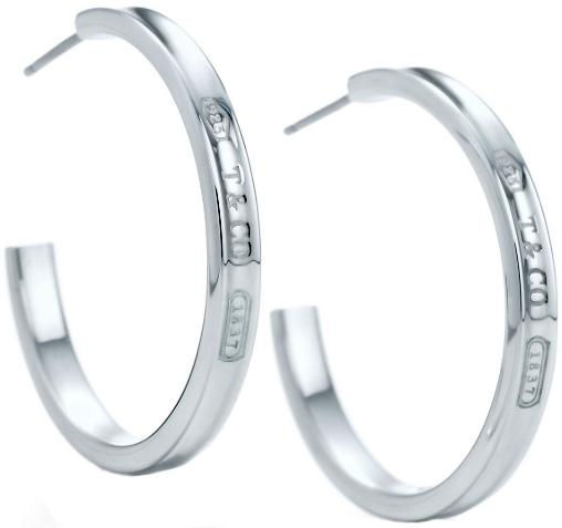 Tiffany&Co. ティファニーナローフープピアス ミディアムスターリング シルバー9251837 T&COティファニーの創業年を刻印クラシカルなデザインPIERCED HOOP EARRINGS earring
