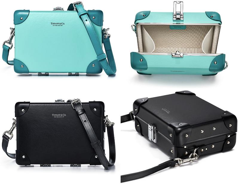 Tiffany&Co. ティファニー2WAYミニショルダーバッグ ミニ手提げ鞄ミニボックス グローブトロッターレディース ブラック ティファニーブルーウィメンズ レザートリム リベットミニケース取り外し可能ストラップ付き