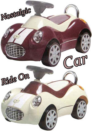 クラシックスポーツクーペ 乗用カークラシックカー キックカー 乗用玩具レッド アイボリー バーガンディーワインレッド ライトブルー足蹴り車 丸みのある乗り物サウンドメロディー付き本格的なメータープレート