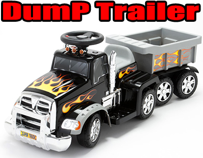 バッテリーで動く電動乗用玩具ダンプトレーラートラックファイヤーパターンがカッコイイ!これぞアメリカンピックアップトラック小さなおもちゃも積める荷台付きブラック ビッグスケールサウンド&クラクション付き贈り物やプレゼントに!