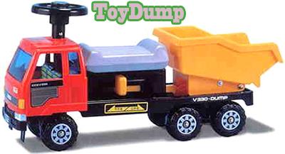 子供用重機カー 6輪ダンプカーレッド×ライトブルー×イエロー×ブラック建設機械働く車のおもちゃシリーズライドオン 乗用玩具 おもちゃ