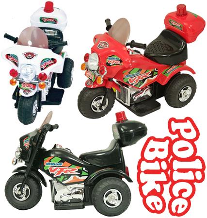 子供用電動乗用バイク 白バイクラクションやサイレンを鳴らしたりヘッドライトやパトランプも点灯!ホワイト レッド ブラック 乗用玩具POLICE BIKE電気で動くバッテリーバイクポリスバイクお子様のプレゼントに最適!
