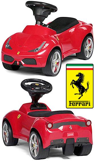 正規フェラーリ公認デザインシートもレザー貼りの本格的お子様にもリアルを追求イタリア名車 スーパーカー乗用玩具FERRARI ライドオンスポーツカー レッド イエローお子様へのプレゼントに最適足蹴り 足こぎ 足けり おもちゃ キックカー V8NAモデル