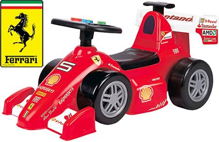 フェラーリ正規ライセンス商品子供用足蹴り乗用玩具F1レースカー ライドオン 乗り物おもちゃをしまえる収納ボックス付きリアウイング部のハンドルを起こして手押し車としてもお使い頂けます Ferrari ベースformule 1 Foot To Floor Loopauto